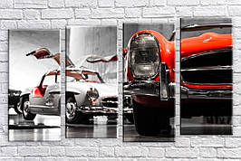 Картина модульная HolstArt Раритетные авто 55*100 см 4 модуля арт.HAF-188