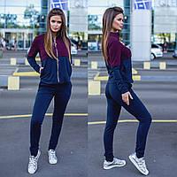 2045-02 синий-бордо женский спортивный костюм весенний стрейчевый (42,42,44, 3 ед.), фото 1