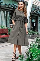 Модное платье рубашка Симфония хаки