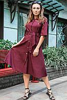 Льняное летнее платье Симфония бордовое