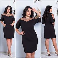 Платье  БАТАЛ вставка сетка в расцветках 757158
