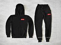 Мужской спортивный костюм Supreme черный , толстовка маленькая эмблема реплика