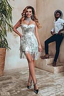 Серебристое короткое женское платье M,L, фото 1