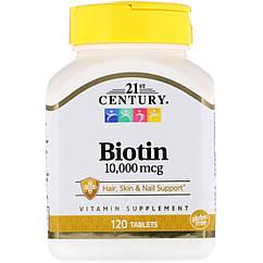 Биотин, 10 000 мкг, 120 таблеток 21st Century