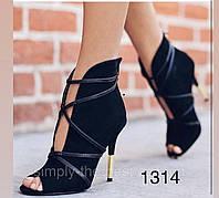 Жіночі чобітки чорні,літні ,відкритий носик, фото 1