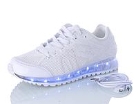 Кроссовки белые Led с подсветкой подошвы и кабелем USB Размер 39