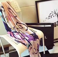 Палантин  брендовый Шанель. Натуральный шелк. ШЕЛКОВЫЙ ШАРФ ПАЛАНТИН В СТИЛЕ CHANEL