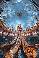 Женское платье-макси золотистого цвета XS,S,M,L