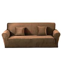 Чехол на диван эластичный Микрофибра 3-х местный, HomyTex Песочный