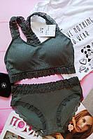 Кружевное женское нижнее белье размер S/M  цвет хаки