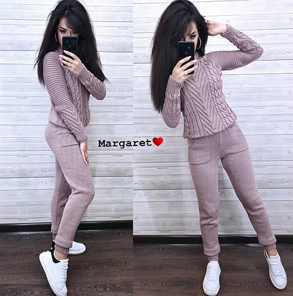 Костюм теплый женский вязаный штаны и кофта, фото 2