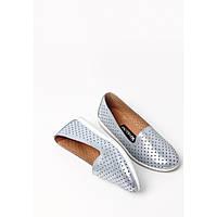 Женские туфли из натуральной кожи с перфорацией серебро