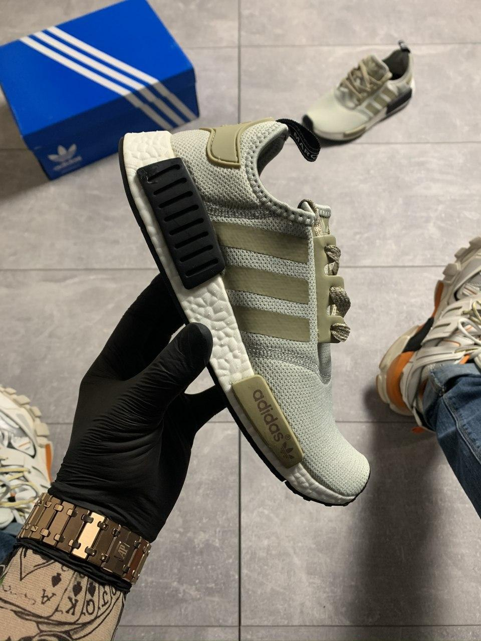 Женские кроссовки Adidas NMD Runner Grey Green / Адидас НМД Серые Зеленые