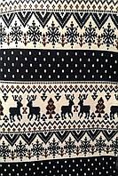 Трикотаж (Ангора на вельбо) принт Скандинавский орнамент олени синий с красным