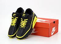 """Кроссовки мужские кожаные Nike Air Max 90 """"Черные с желтым"""" р. 41-45"""