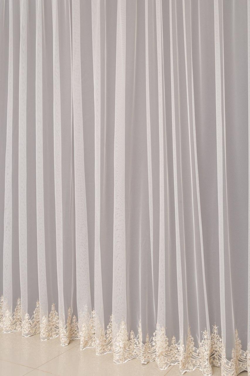 Турецька тюль на вікна колір білий молочний (обробка сторін + 40 грн)кольори в асортименті)