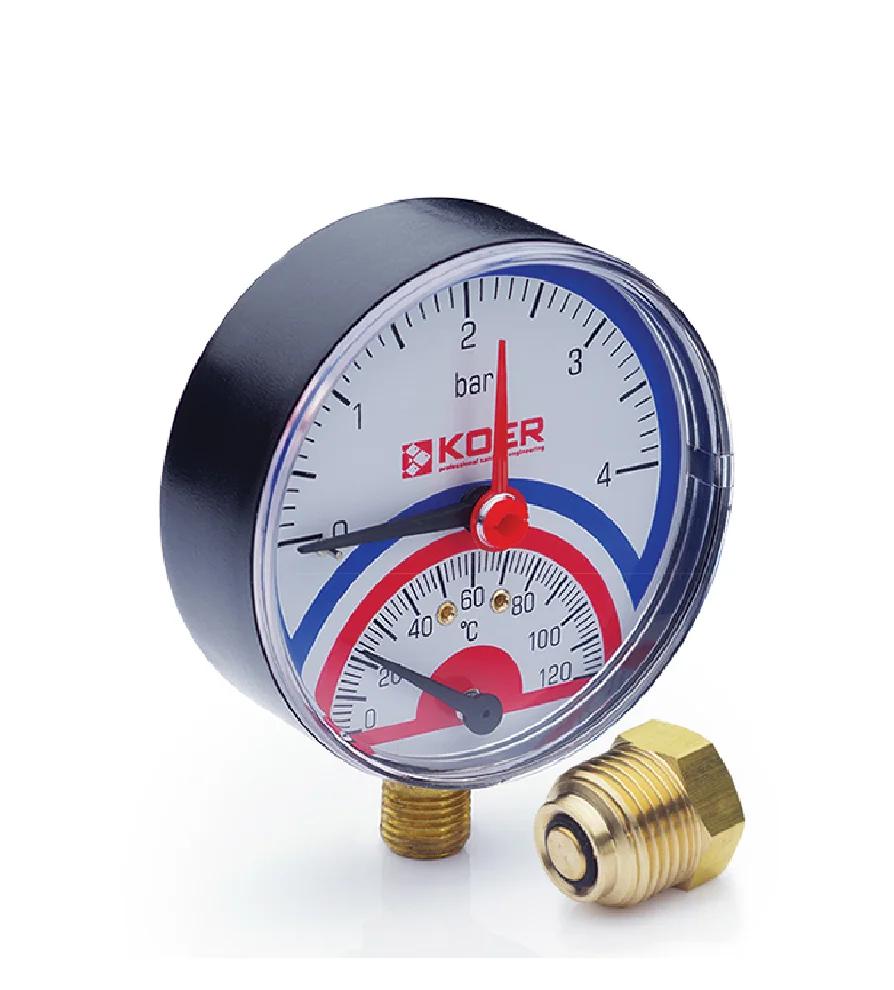 Термоманометр радиальный KOER KM.801R 0-4 бар 0-120°С D=80мм, 1/2''