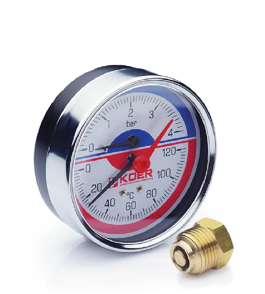 Термоманометр аксиальный KOER KM.812A 0-4 бар 0-120°С D=80мм, 1/2''