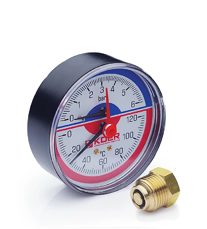 Термоманометр аксиальный KOER KM.802A 0-6 бар 0-120°С D=80мм, 1/2'', фото 2