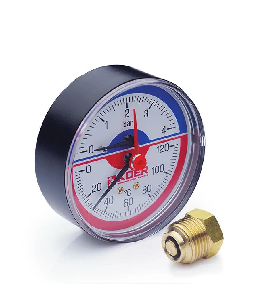 Термоманометр аксиальный KOER KM.802A 0-4 бар 0-120°С D=80мм, 1/2''
