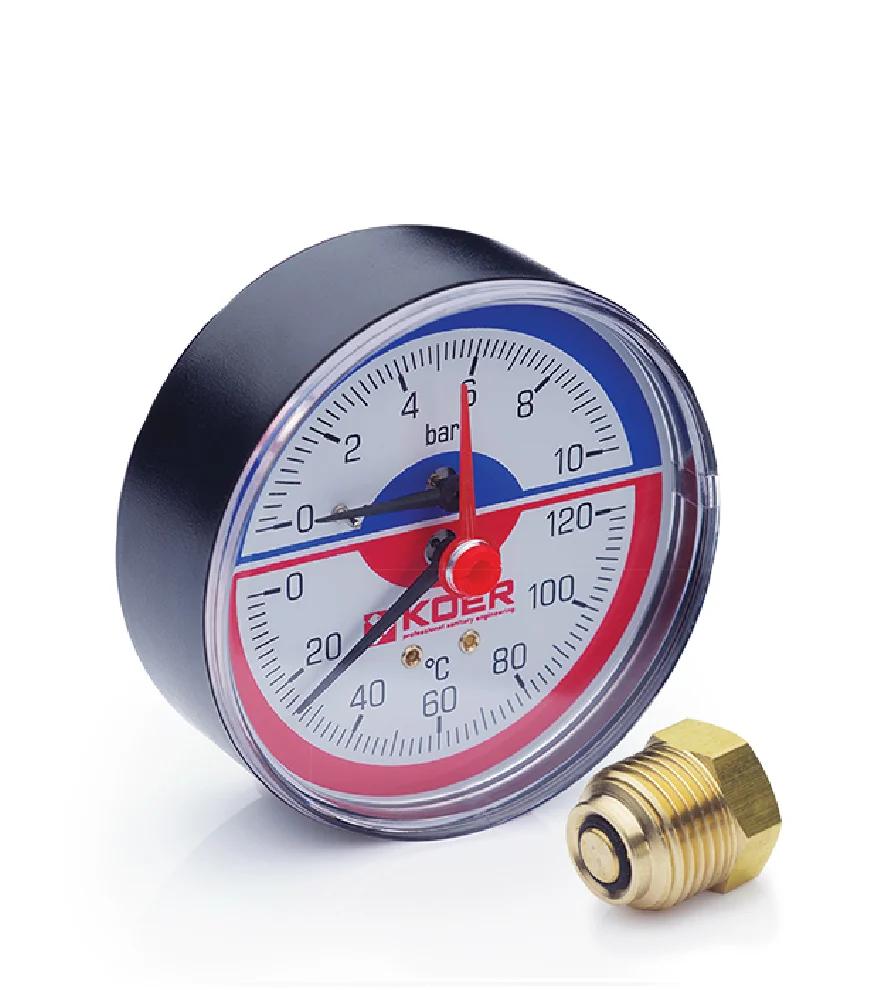 Термоманометр аксиальный KOER KM.802A 0-10 бар 0-120°С D=80мм, 1/2''