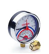 Термоманометр радиальный KOER KM.821R 0-10 бар 0-120°С D=80мм, 1/2''