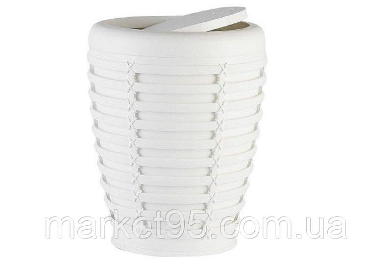 Відро для сміття з поворотною кришкою 7.5 л біле