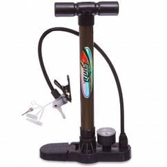 Насос напольный ручной для мячей,велосипедов с манометром CIMA CM-P305 (пластик,алюмин,l-33см) Код CM-P305
