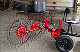 Грабли ворошилки для мотоблока навесные 4-х колесные (заводские ГОСТ, граблина 5мм) порошковая покраска, фото 6