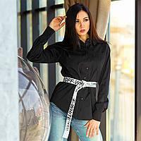 Однотонная рубашка прямого силуэта черного цвета