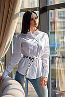 Деловая повседневная рубашка прямого силуэта