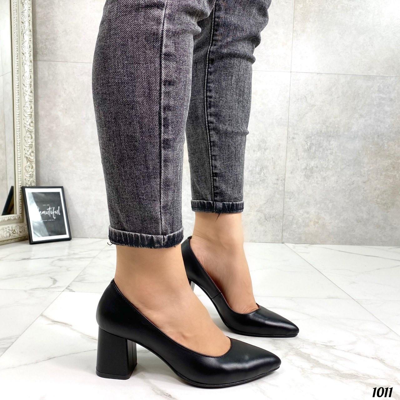 Туфли женские черные натуральная кожа на каблуке 6 см