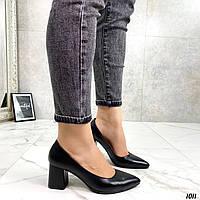 Туфли женские черные натуральная кожа на каблуке 6 см, фото 1