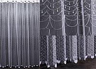 Тюль фатин с вышивкой, цвет белый с серым. Код 443т  40-095, фото 1