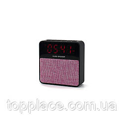 Настольные электронные часы T1 c Bluetooth и FM, Черный с розовым