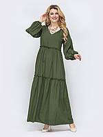 Платье хаки прямого кроя длинное макси с длинным рукавом 50-52 54-56 58-60 62-64+