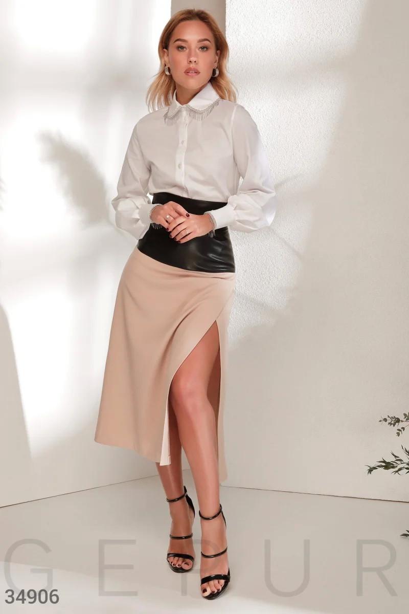 Комбинированная юбка-миди XS S M L