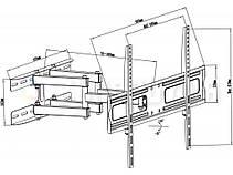 Поворотно-наклонный кронштейн для телевизоров 43-75 диагонали Maclean MC-762  (max VESA: 600 x 400), фото 3