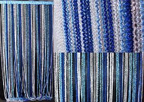 """Шторы нити кисея """"Спиральки"""", цвет синий, белый, голубой. Код 090нш"""