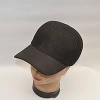 Черная кожаная мужская кепка с ушками