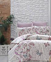Комплект постельного бельяRanforce Kelebek Pudra First Choice Евро размер