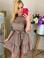 Платье однотонное, с воланом, в горошек 42,44,46,48 Капучино, фото 1