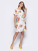 Платье белое с цветочным принтом  летний 46-48 50-52
