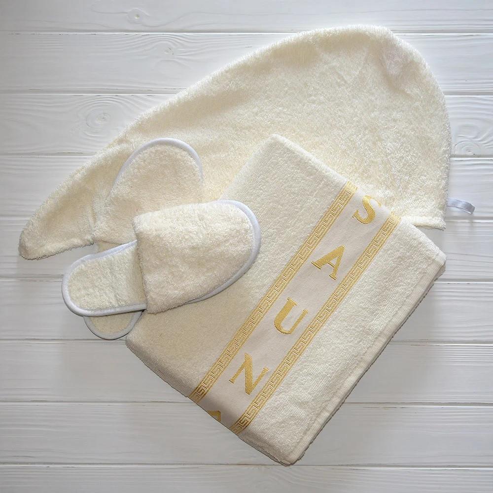 Набір для Сауни Жіночий Merzuka Туреччина з 3 предметів рушник-спідниця на липучці , шапочка, тапочки Молочний