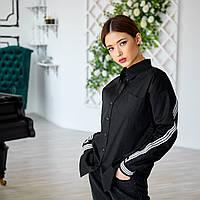 Черная рубашка женская из 100 % коттона