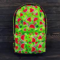 Яркий салатовый рюкзак с арбузами, молодежный портфель с арбузным принтом, арбузы, зеленый цвет