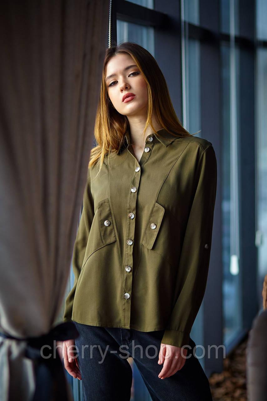 Модная женская рубашка на пуговицах