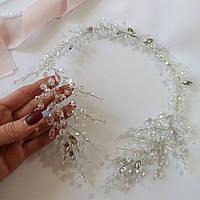 Украшения на свадьбу в прическу, хрустальная веточка из бусин, 40 см.