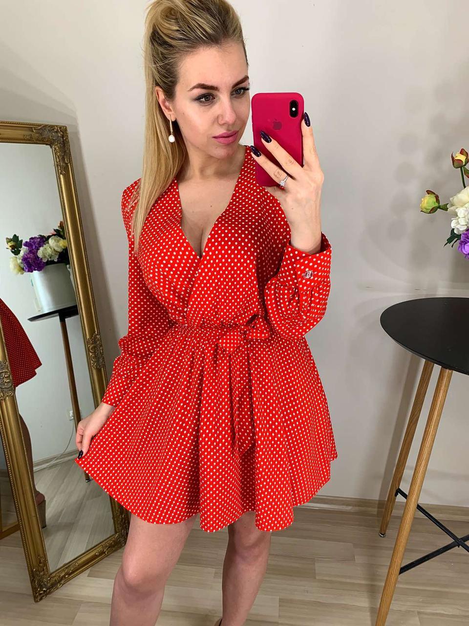 Платье красивое, в горошек, беби долл 42,44,46,48 Красный