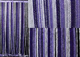 """Шторы нити кисея """"Спиральки"""", цвет фиолетовый, белый, сирень. Код 089нш"""